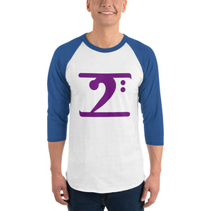 PURPLE LOGO 3/4 sleeve raglan shirt - Lathon Bass Wear