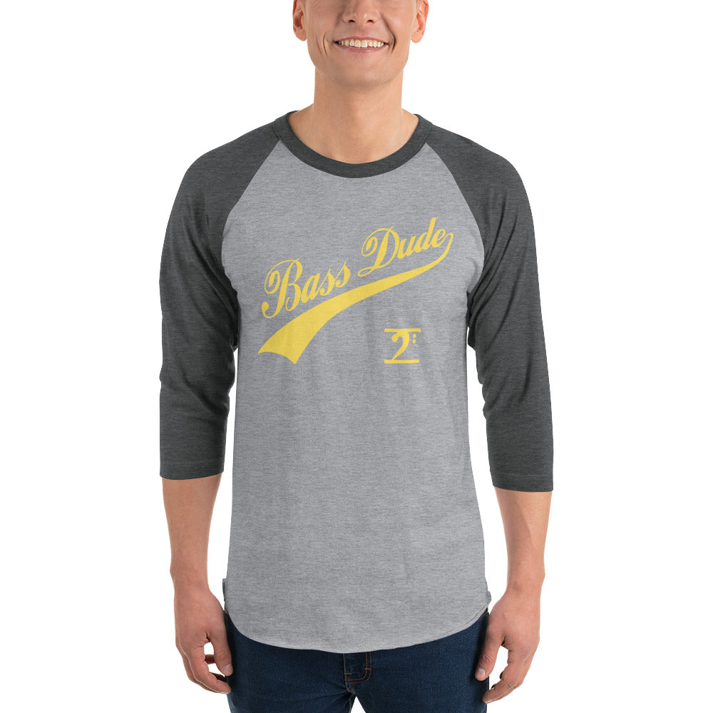 BASS DUDE w/TAIL 3/4 sleeve raglan shirt - Lathon Bass Wear