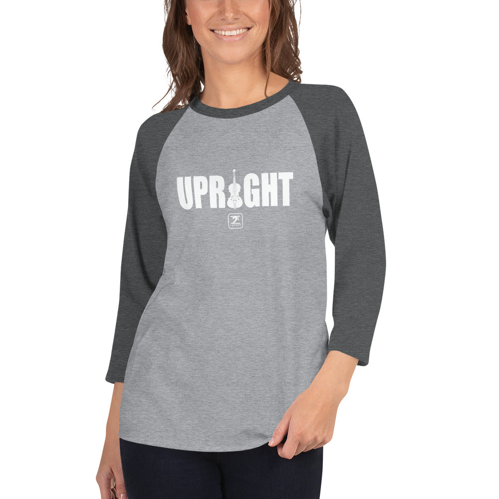 UPRIGHT - WHITE 3/4 sleeve raglan shirt - Lathon Bass Wear