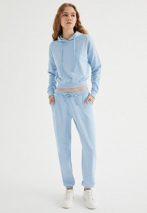 ENJOY CROPPED HOODIE in Powder Blue - Sweatshirt - Westmark London EU(TR) Store Organik Pamuklu Sürdürülebilir Moda