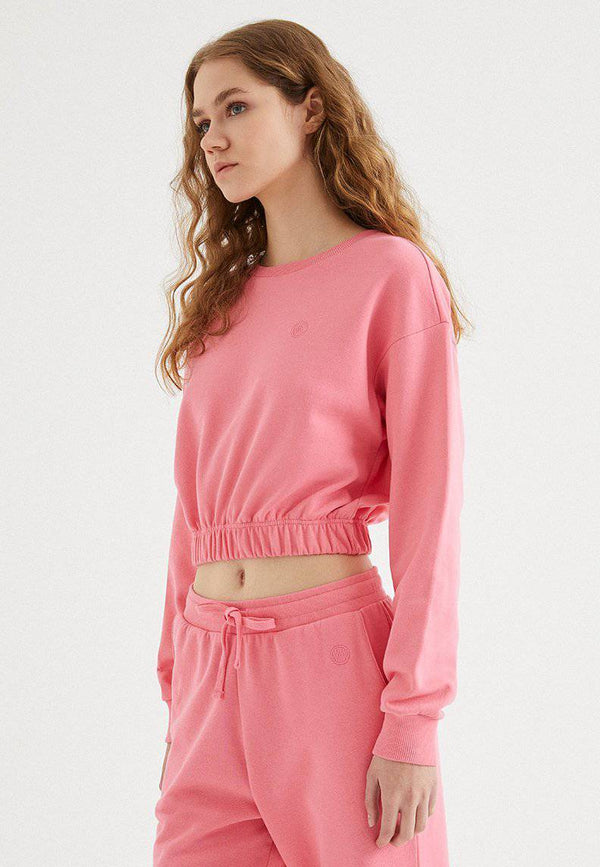 ENJOY ELASTICATED HEM SWEAT in Pink Lemonade