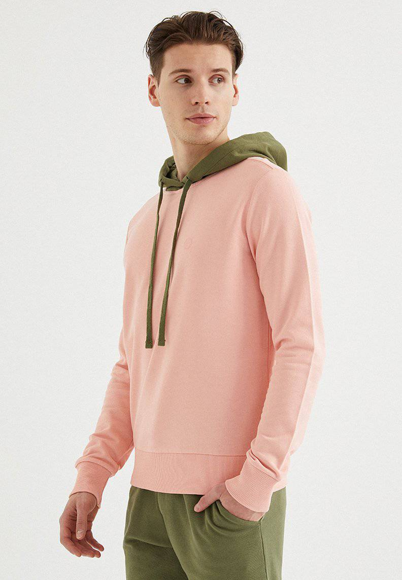 CORE COLOUR BLOCKED HOODIE in Coral Cloud