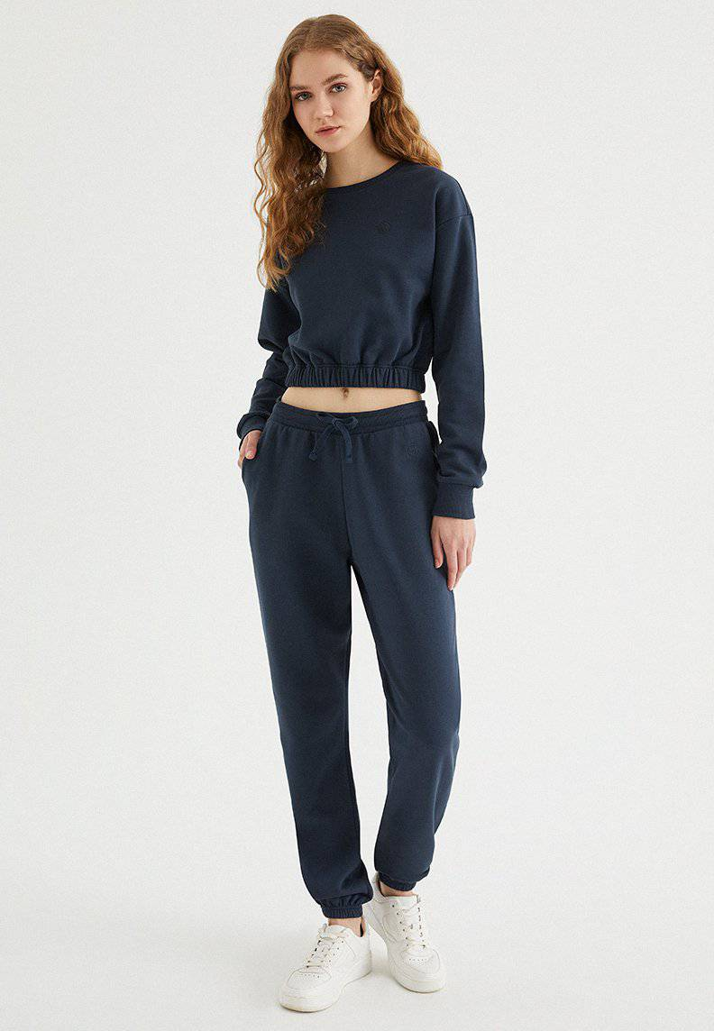 ENJOY ELASTICATED HEM SWEAT in Blue Nights