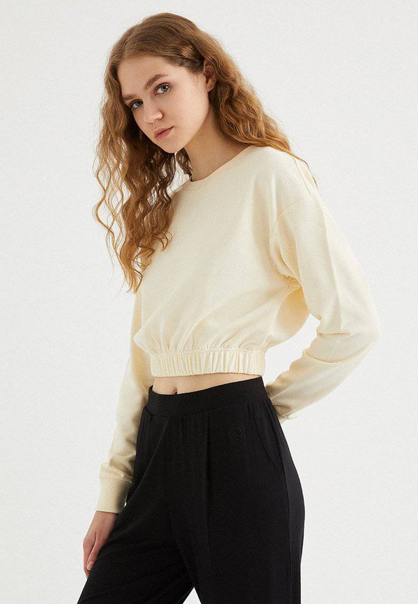 ENJOY ELASTICATED HEM SWEAT in Pearled Ivory - Sweatshirt - Westmark London EU(TR) Store Organik Pamuklu Sürdürülebilir Moda