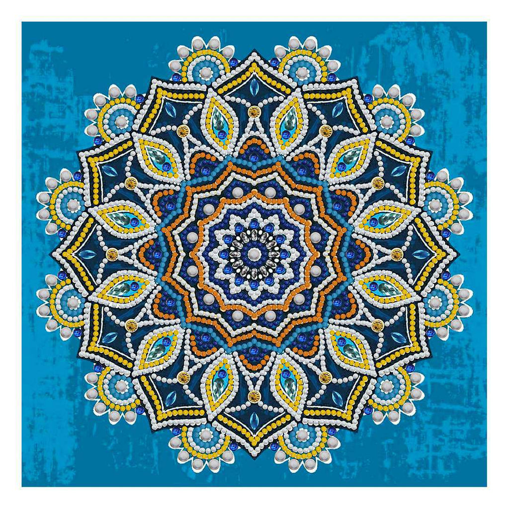 Mandala Blauw Geel | Glow in the Dark
