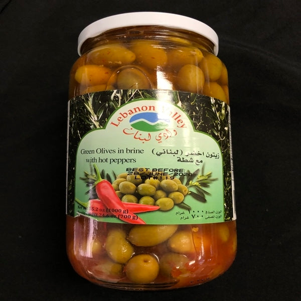 Lebanon valley green olives hot peppers 1000g