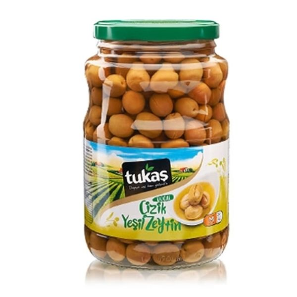 Tukas scratched green olives 400g
