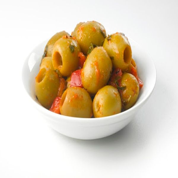 Marinated hot green olive lb