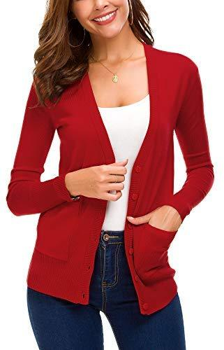 Women's Front Cardigan Button Down Knitted Sweater Coat with Pockets