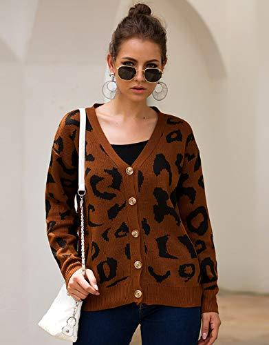 KIRUNDO 2019 Women  s Winter Autumn Sweater Coat Long Sleeves V Neck Button Up Knitted Cute Leopard Cardigan