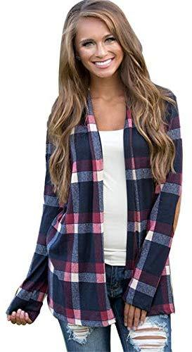 flowop Women Loose Plaid Cardigan Long Sleeve Autumn Casual Outwear Casual Jackets Open Front Cardigan