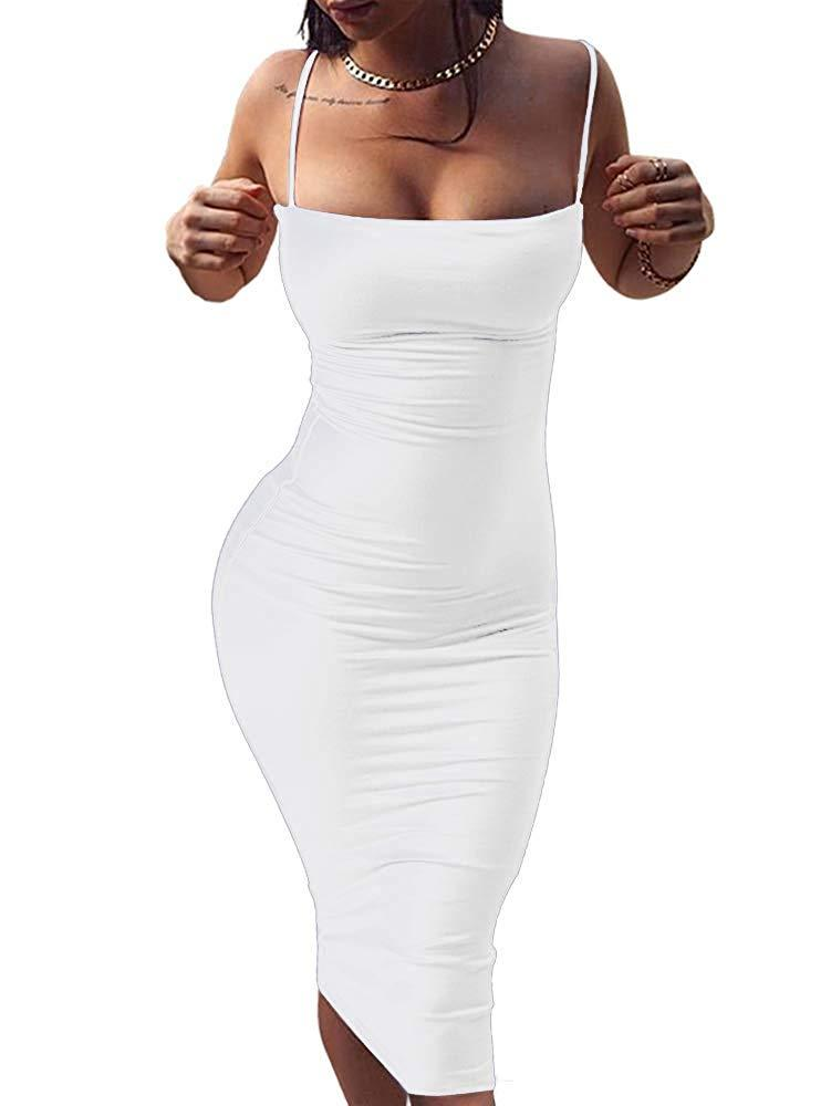GOBLES Women's Sexy Spaghetti Strap Sleeveless Bodycon Midi Club Dress