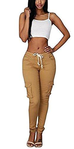 Lynwitkui Womens Casual Stretch Drawstring Skinny Cargo Jogger Pants High Waist Tie Butt Lift Pant with Pockets