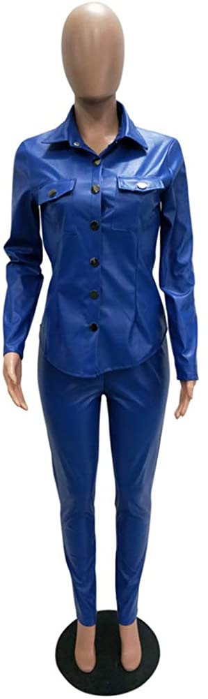 Speedle Faux Leather Long Sleeve Button Down Shirt for Women Party Clubwear