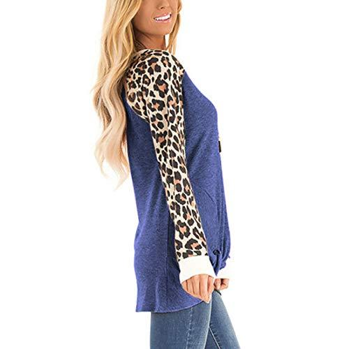 Anoir Women's Shirt Twist Knot Front Leopard Print Long Sleeve Round Neck Casual Blouse Tunic Tops