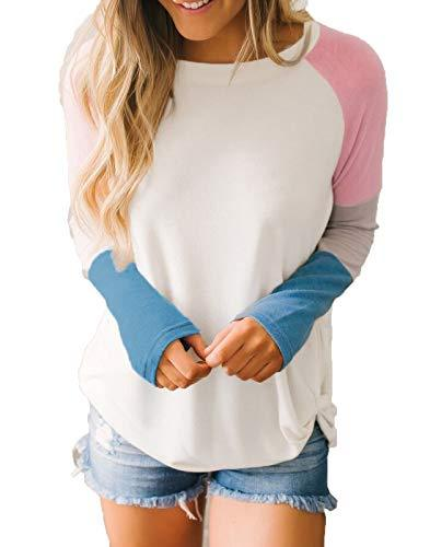 INWECH Women's Casual Crew Neck Front Knotted Color Block T Shirt Blouse Long Sleeve Autumn Tops Tees image