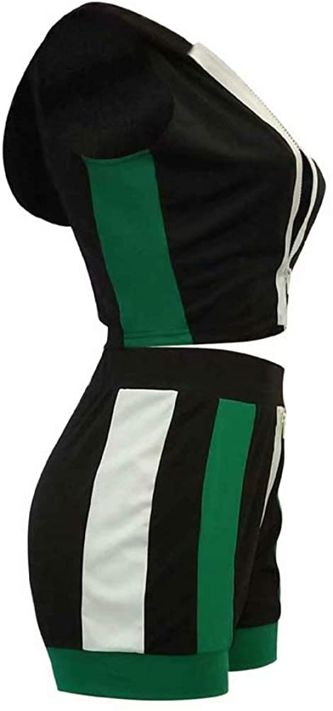 Ramoug Womens Sexy Color Block Zipper Up Hoodie Crop Top Shorts Set 2 Piece Outfit