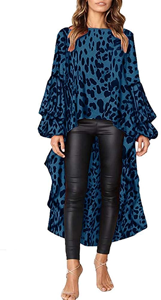 Sprifloral Womens High Low Asymmetric Lace Hem Long Sleeve Oversized Long Shirt Tunic Tops