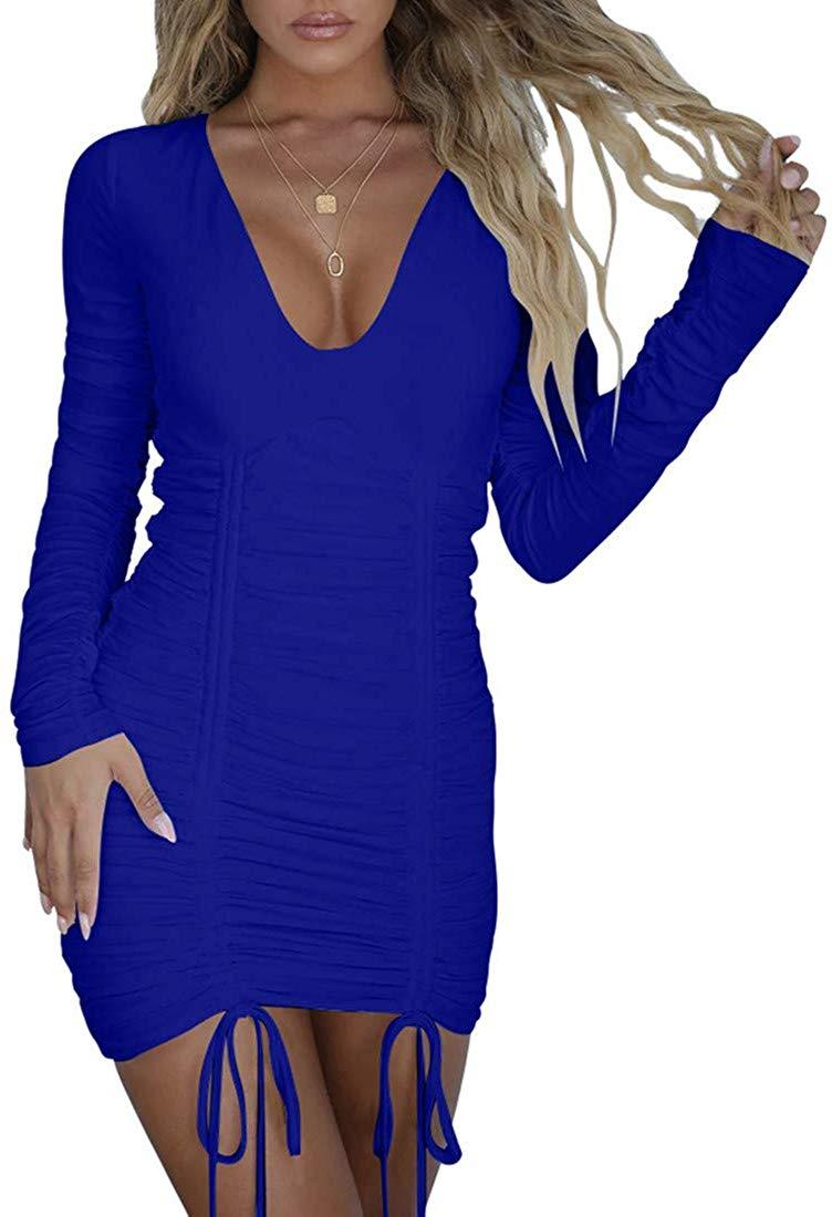 Mizoci Women's Sexy Bodycon Ruched Deep V Neck Drawstring Mini Club Party Dresses