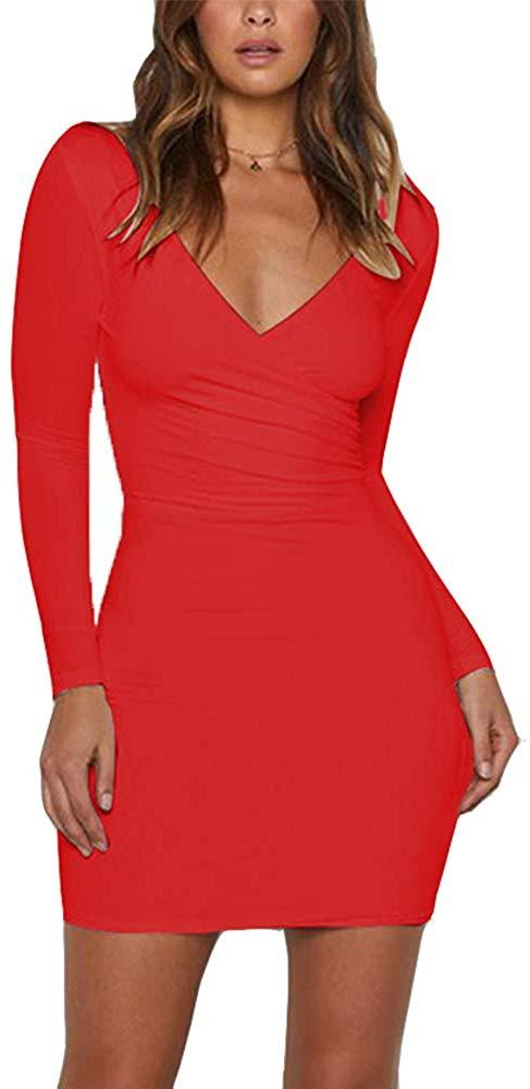 Susupeng Women Double V Neck Long Sleeve Sexy Bodycon Mini Wrap Club Party Dress