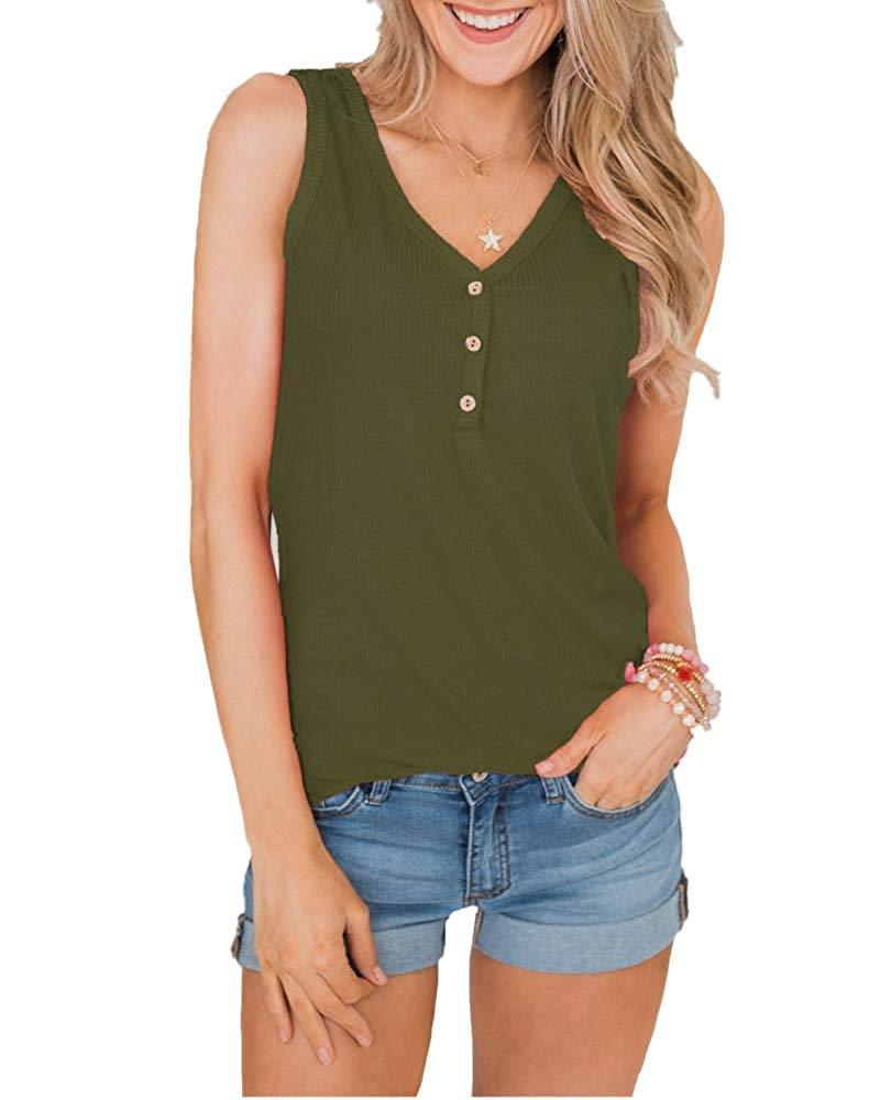Amandon Womens Henley Tank Tops V Neck Henley Shirts Sleeveless Button Up Long Tunic Tops