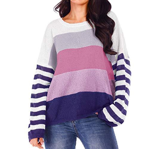 COOKI Women's Casual Sweaters Color Block Long Sleeve O-Neck Knit Sweater Oversized Loose Knitted Pullover Sweaters Tops