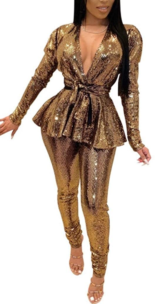 2 Piece Night Clubwear Outfits for Women Long Sleeve Top+Metallic Shiny Pants Glitter Clubwear