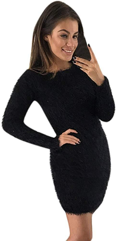 iQKA Women Fashion Winter Mohair Long Sleeve Dress Solid Basic O-Neck Slim Fit Sweater Short Mini Dress