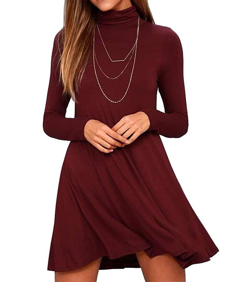 KEEDONE Women's Long Sleeve Turtleneck Casual Loose T-Shirt Dresses