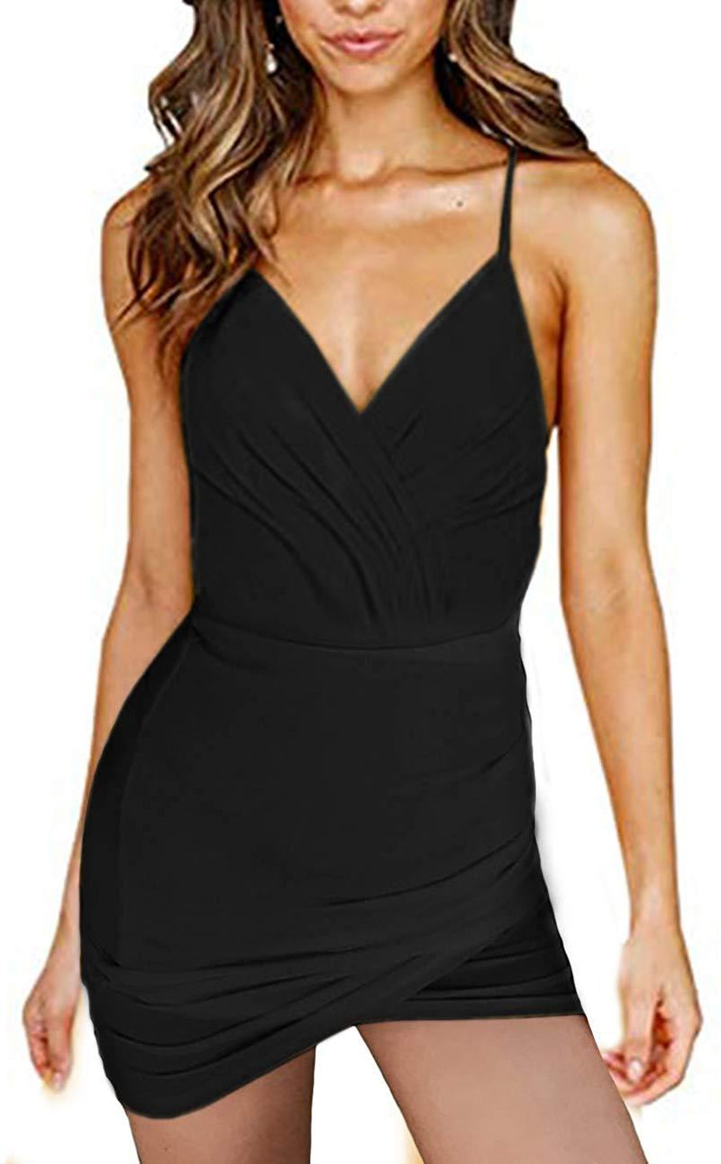 navvour Women's V Neck Spaghetti Strap Bandage Ruched Bodycon Club Mini Dress