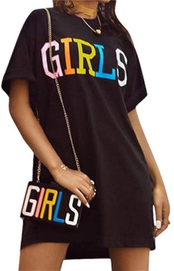 TshineY Women's Short Sleeve Letter Printed Loose Shirt Mini Dress Tops Clubwear