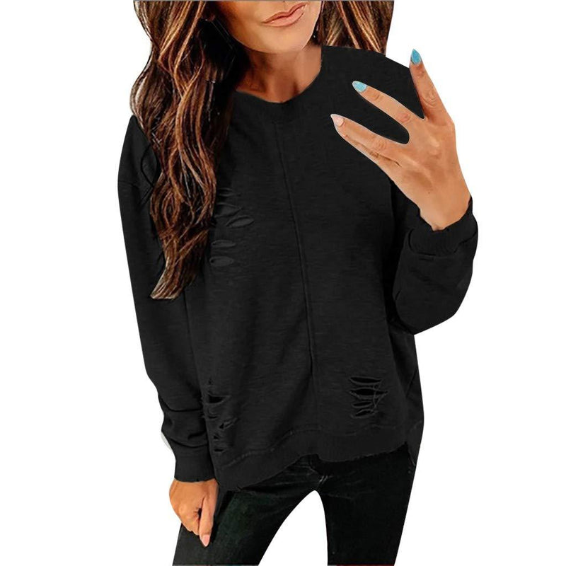 Long Sleeve Tee Blouse Women, Amiley Women Broken Hole Crewneck Fashion Autumn Long Sleeve T Shirts Tunic Casual Tops Blouses