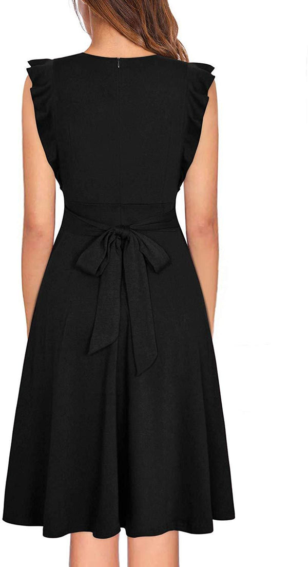 Ranphee Womens Ruffle-Frame Sleeveless V Neck A-Line Button Down Dress
