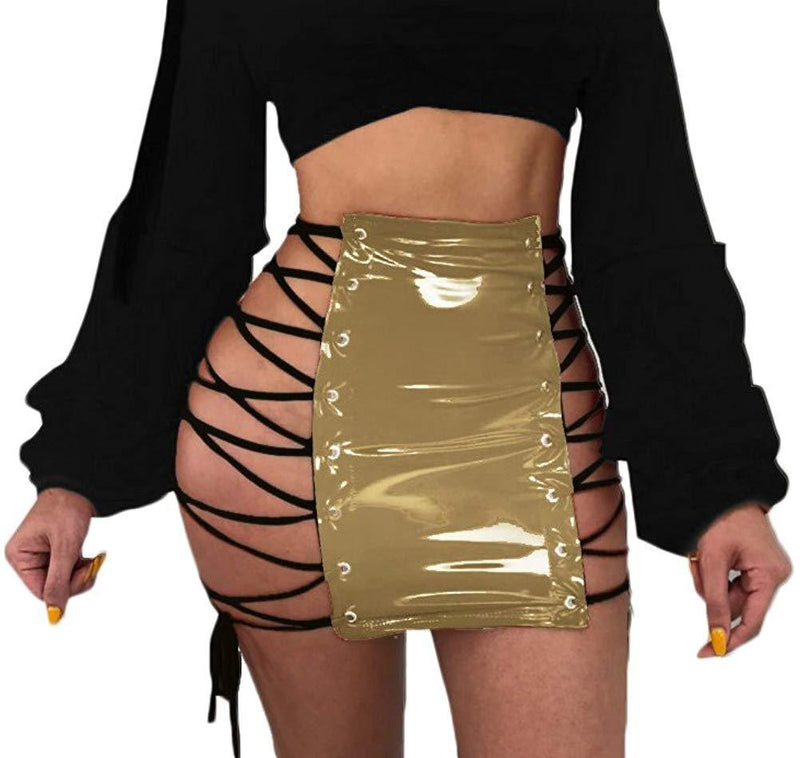 Yllision cianine Women Side Hollow Out Bandage Lace Up PU Leather Skirt Sexy Mini Dress Clubwear