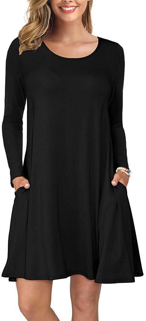 KORSIS Women's Long Sleeve Tops T-Shirt Dress Round Neck Casual Loose Dress 1