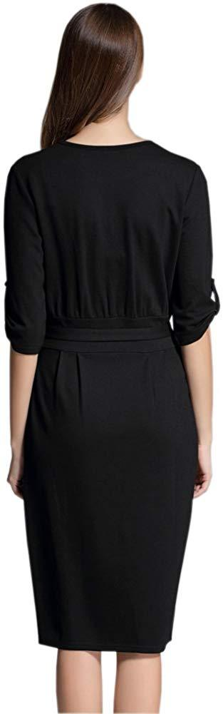 Paskyee Women's Elegant Wear to Work Casual Pencil Dress with Belt 1