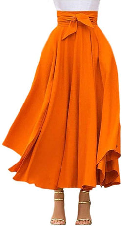 Jascaela Womens Casual High Waist Bow Tie Pleated A-Line Swing Long Midi Flared Skirt with Pockets
