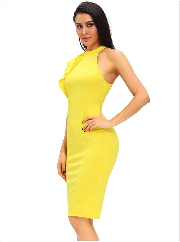Designer97 Sexy Women's Fashion One Shoulder Ruffles Bodycon Party Dress
