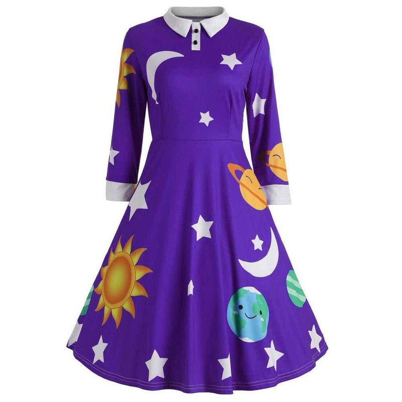 Women Vintage Peter Pan Collar Long Sleeve Print Button Flare A-Line Swing Dress
