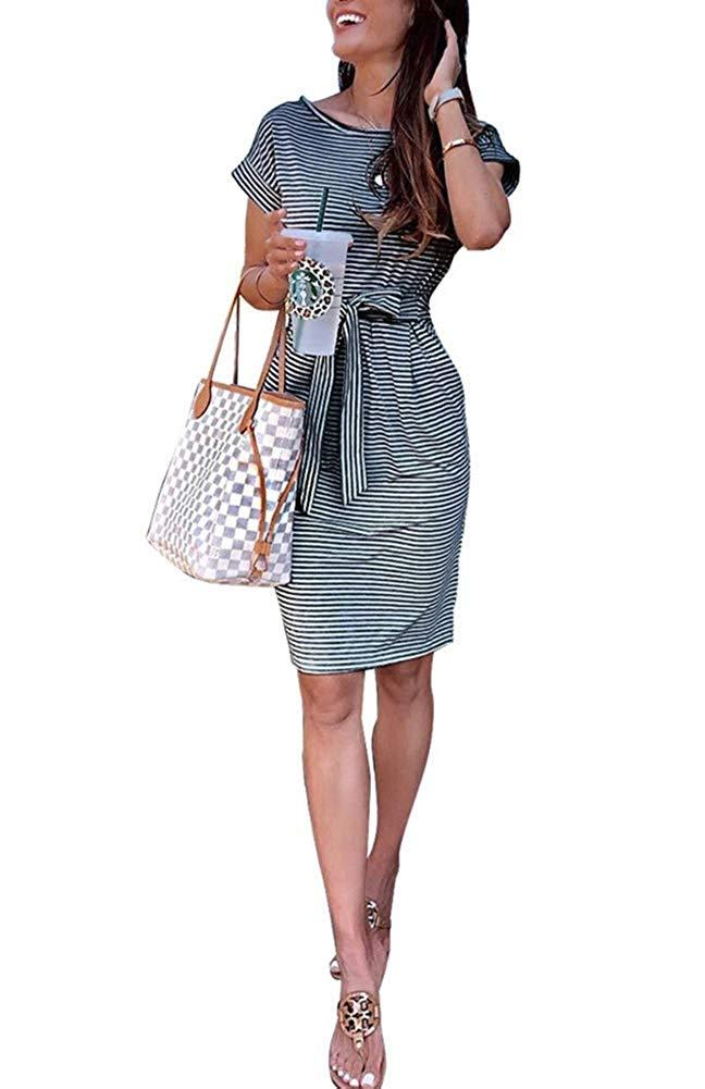 Women Sexy Spaghetti Strap V Neck Rainbow Striped Bodycon Pencil Party Club Summer Dress