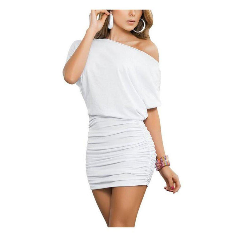 Anxihanee Women's Sexy Off Shoulder Party Club Ruched Bodycon Mini Dress