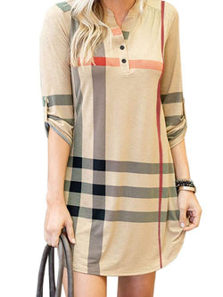 NIUBIA Womens Plaid Shirts Striped Tunic Dresses Roll-Up 3/4 Sleeve V Neck Button Henley T Shirt Midi Dress