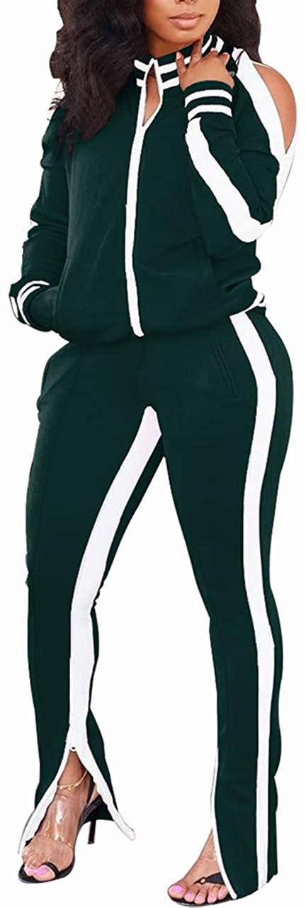 Yeshire Womens 2 Piece Outfit Cold Shoulder Zipper up Long Sleeve Jacket and Pants Set Joggers Tracksuits