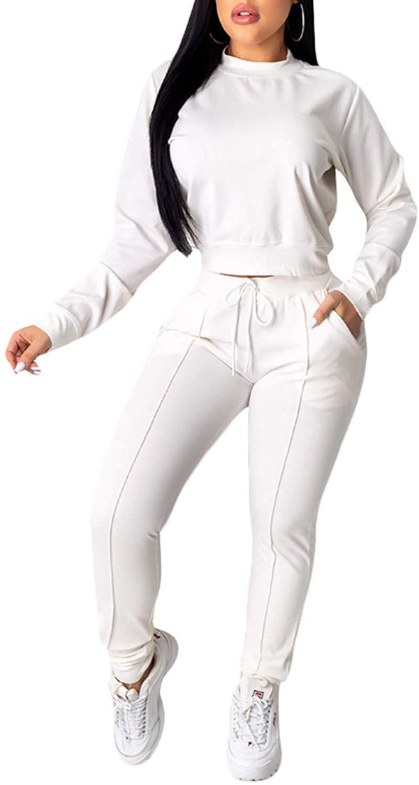 Women Solid Color 2 Piece Outfits Set, Long Sleeve Crew Neck Top and Long Pants Tracksuit Sportswear Sweatsuit