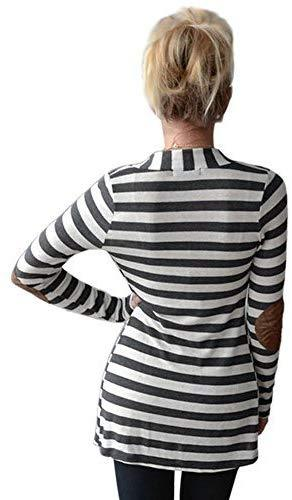 Women's Shawl Collar Striped Cardigan Long Sleeve Elbow Patch Open Front Sweater top