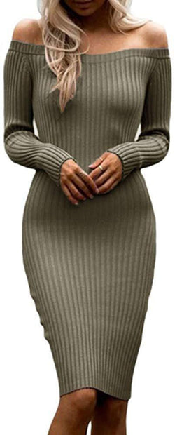 Dellytop Womens Off The Shoulder Sweater Dresses Long Sleeve Ribbed Bodycon Midi Dress