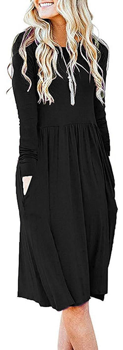 Basic Faith Women's S-3XL Ultra Soft Modal Empire Waist Pleated Swing Dress W/Pockets