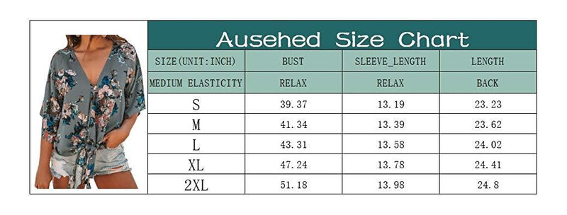 Ausehed Women's Summer V-Neck Tops Button Down Front Tie Shirt Ruffle Chiffon Blouses