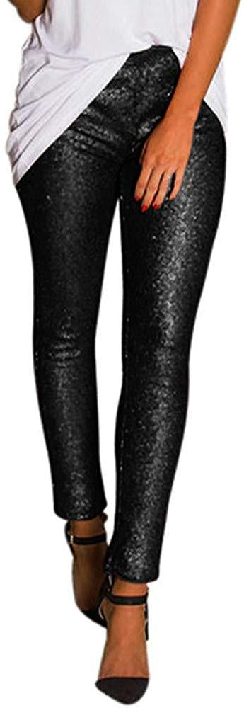 MOKU Women Plus Size Shiny Sequin Slim Leggings Pants Ladies Sexy Clubwear Trousers