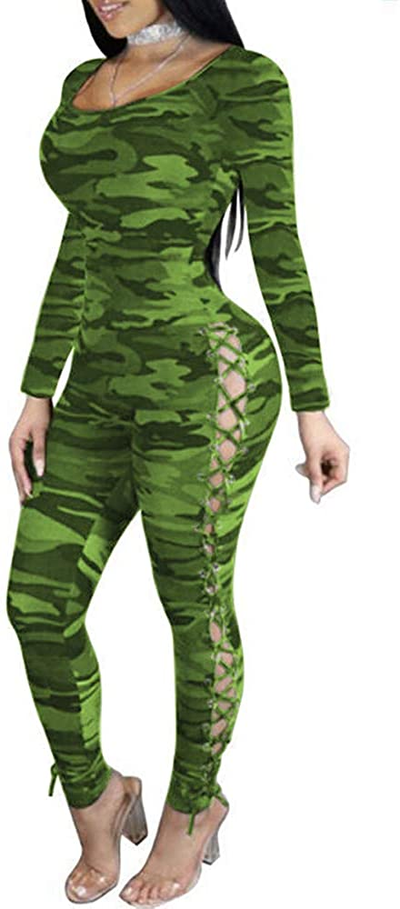 ECHOINE Women's Sexy Bodycon Jumpsuits Long Sleeve Printed Stretch One Piece Outfits Lace Up Rompers Clubwear